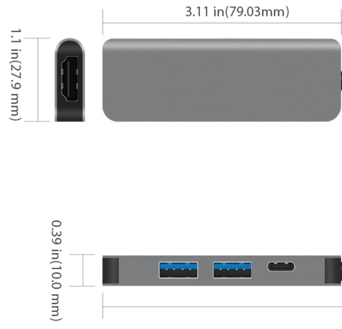 JCPAL Linx 4in1USB-C(PD) to 4K HDMI Hub 2xUSB Smallest