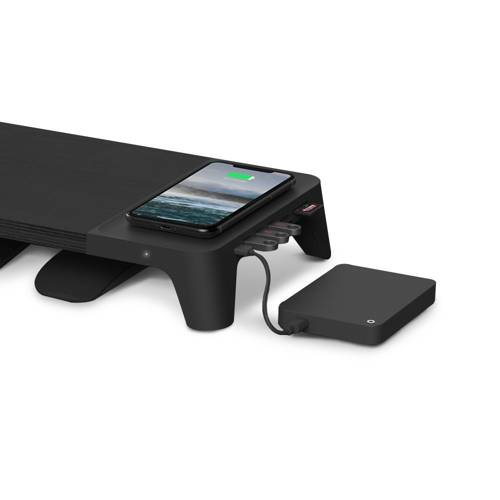 Pout 3-in-1 Monitor Stand Hub with Wireless Pad Black