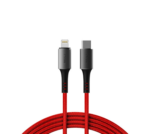 MiLi Braided USB-C Lightning MFI Cable Red (30min=50%)