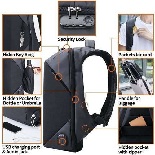 OFIYAA Travel Defender Backpack Passcode Lock BLK